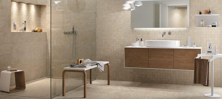 5 abbinamenti base per il pavimento e il rivestimento del tuo bagno mirage - Piastrelle color tortora ...