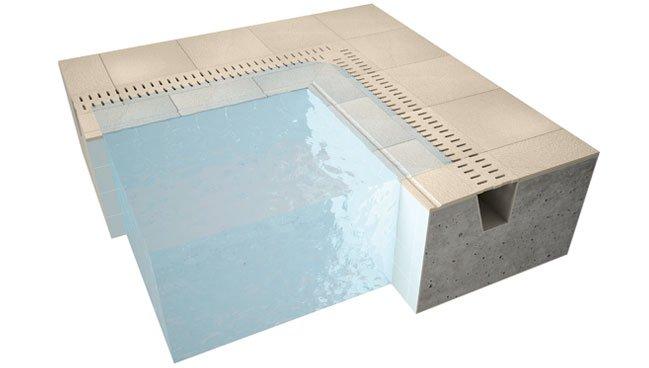 Carrelage pour piscine en gr s c rame evo 2 e mirage for Caniveau pour piscine miroir