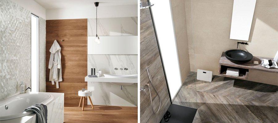 5 abbinamenti base per il pavimento e il rivestimento del - Bagno gres effetto legno ...