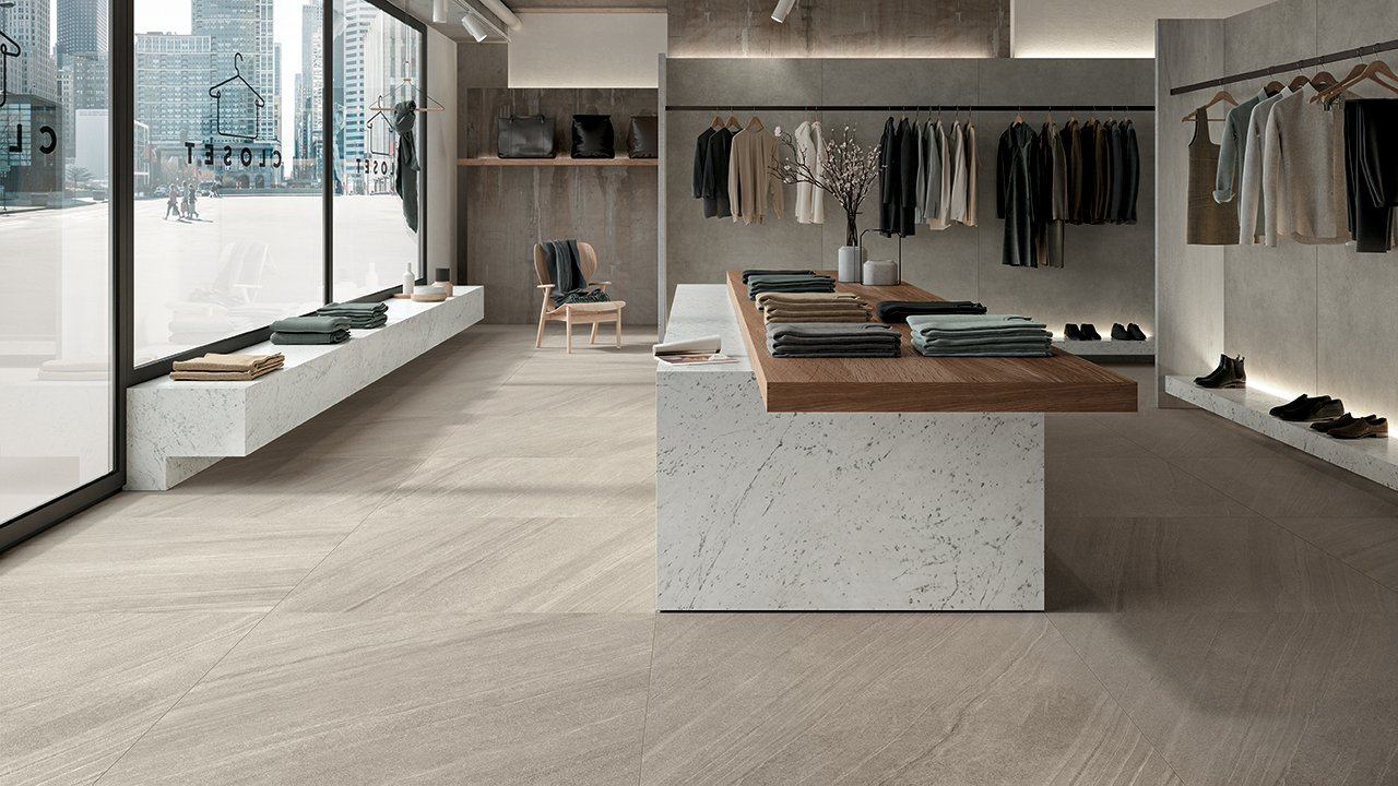 Lagoon - A design material in porcelain stoneware inspired by Cardoso Stone