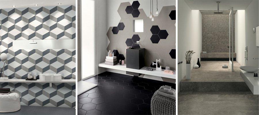 5 abbinamenti base per il pavimento e il rivestimento del - Piastrelle esagonali bagno ...
