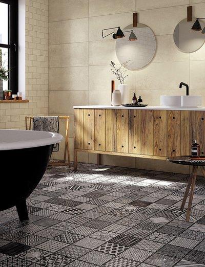 5 abbinamenti base per il pavimento e il rivestimento del - Posa mattonelle bagno ...
